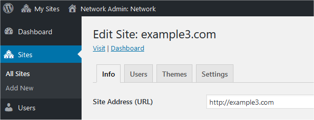 Properties of a site in a network. The site's URL is http://example3.com/