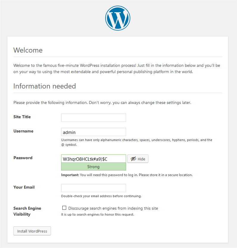 The Welcome to WordPress installation screen