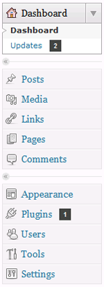 WordPress dashboard menu