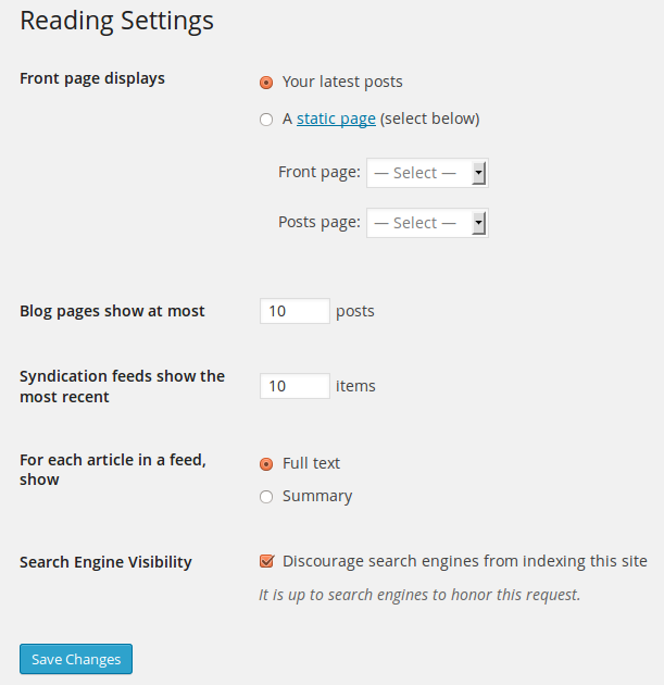 WordPress reading settings paget