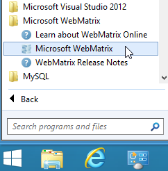 Launch Microsoft WebMatrix