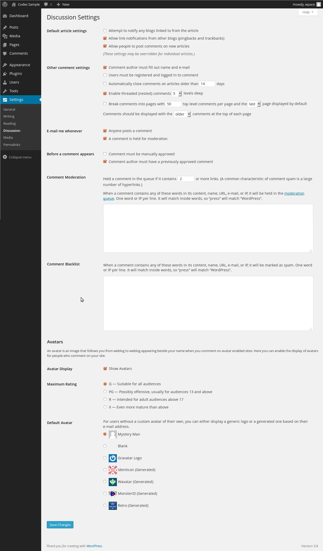 discussion setting wordpress