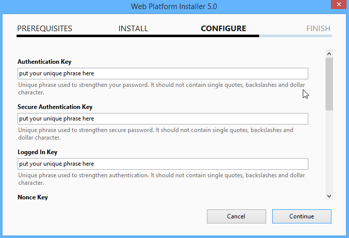 Configure Security Keys