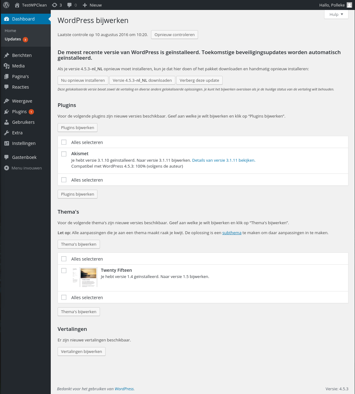 Dashboard Updates Screen « WordPress Codex