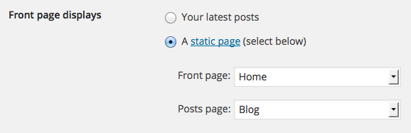 Wordpress static front page settings