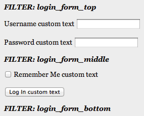 Screenshot of wp_login_form display, with filters adding text