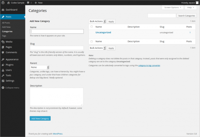 Manage Categories Subpanel Wordpress Codex