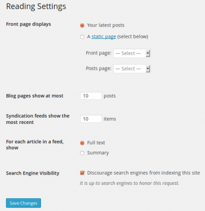 Settings Reading Screen