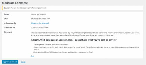 Moderate Comment Screen