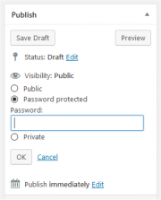 An image of the publish widget from the WordPress page editor.