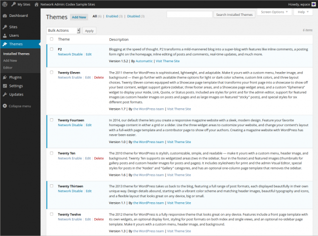 Network Admin Themes Screen