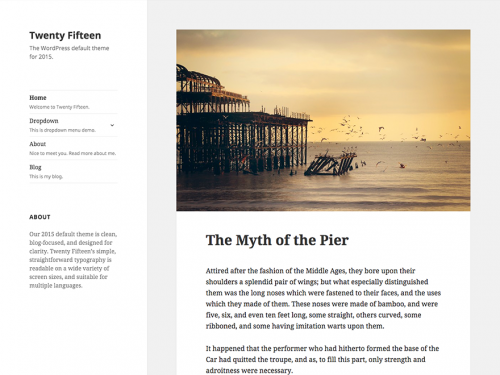One of the three default WordPress themes