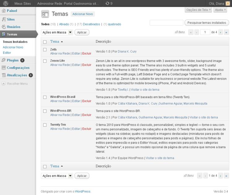 pt-br:Administrar Rede - Temas « WordPress Codex