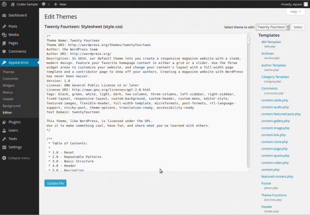 editing wordpress templates appearance editor screen wordpress codex