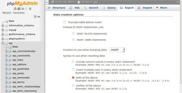 phpMyAdmin Export Data creation