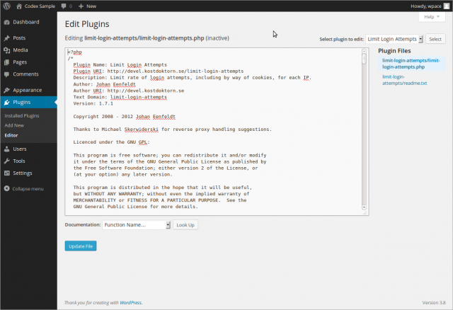 Plugins Editor Screen Wordpress Codex