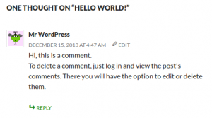 Comments In WordPress Codex